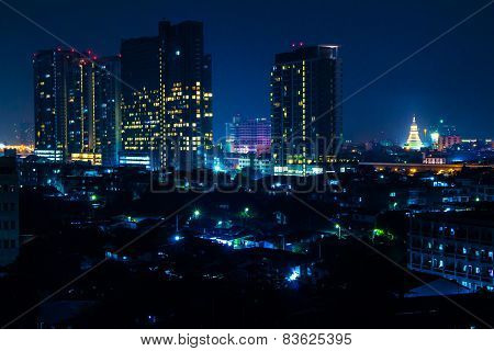 Bangkok City Night Light Capital City Thailand