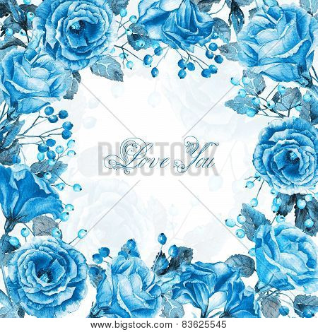 Frame of watercolor blue roses and berries.