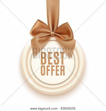 Best offer badge with golden ribbon and a bow.