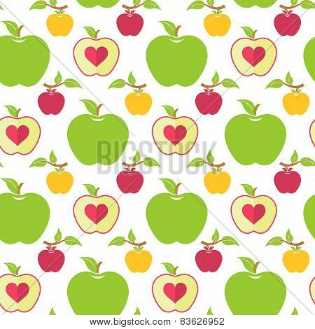 Seamless Pattern With Green, Red And Yellow Apples