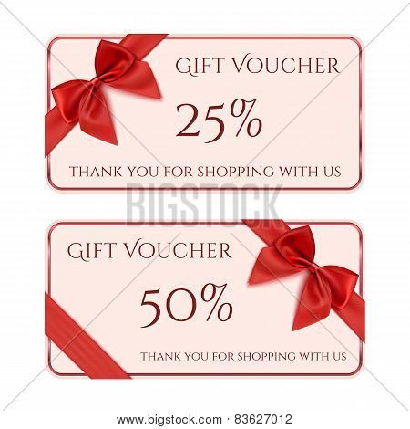 Gift voucher template with red ribbon and a bow.