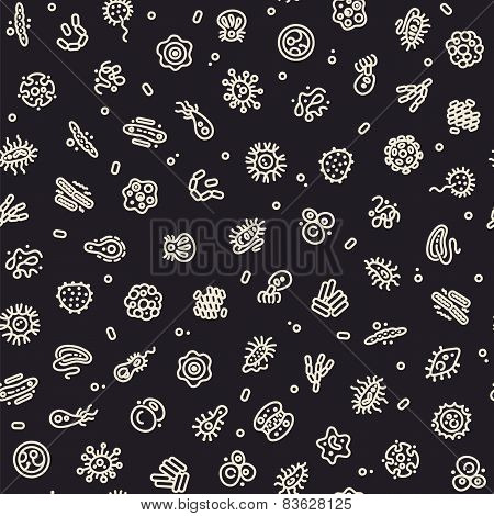 Dark Seamless Pattern with Bacteria and Germs