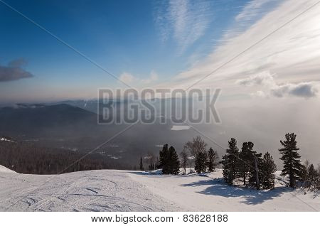 Ski Slopes Mountain Winter Sunrise