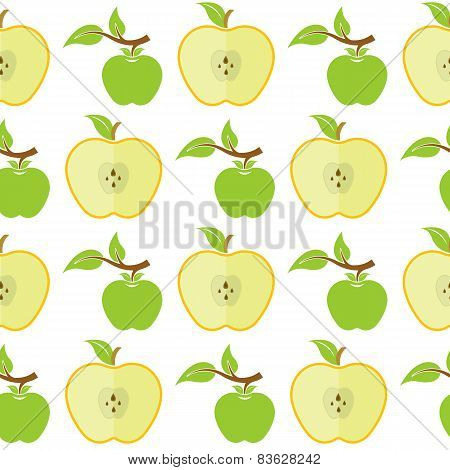 Vector Seamless Pattern With Green Apples