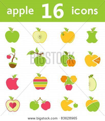Vector Set Of Symbols Of Apples