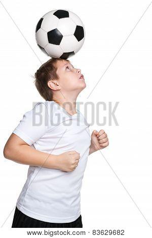 Active Boy With A Soccer Ball