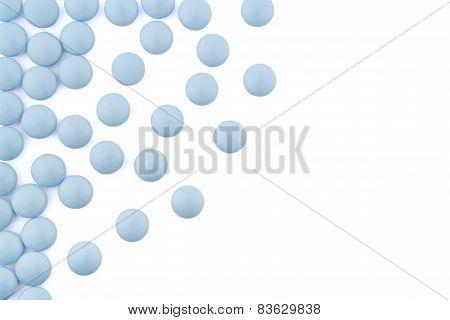 arrangement of blue pills