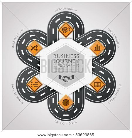 Road And Street Traffic Sign Business Infographic With Weaving Curve Circle Step Diagram
