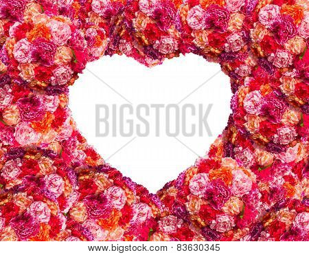 pink roses Heart form isolated