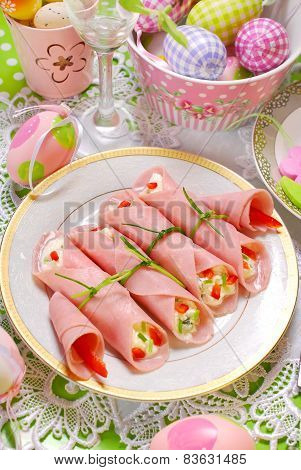 Ham Rolls Stuffed With Cheese And Vegetables For Easter Breakfast