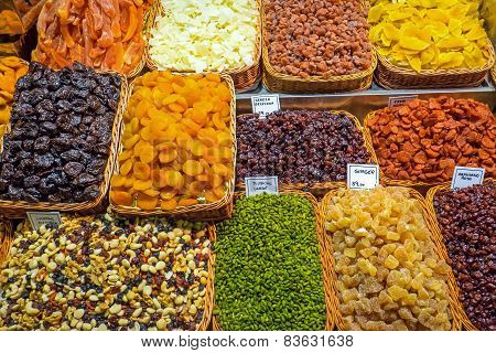 Dried fruits at the Boqueria market