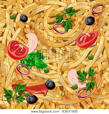 Seamless pattern with pasta.
