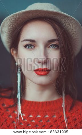 Young Beautiful Hipster Girl In Red Jersey With Hat