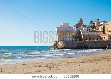 The beach of Sitges in Catalonia