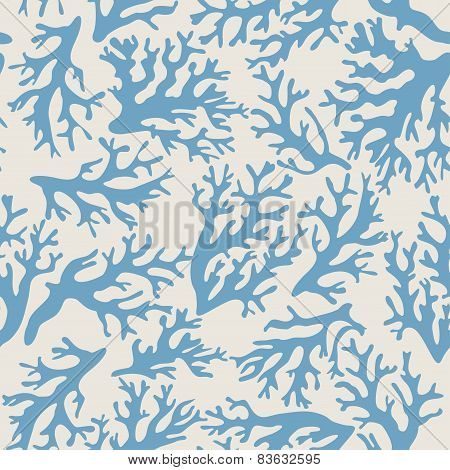 Coral seamless pattern on beige background in vintage style.