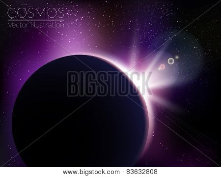 Earth sunrise with stars