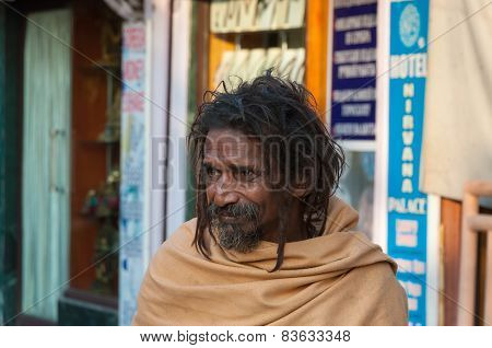 Indian Sadhu On The Street In Rishikesh