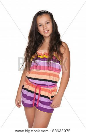 Pretty Preteen Girl On The White Background