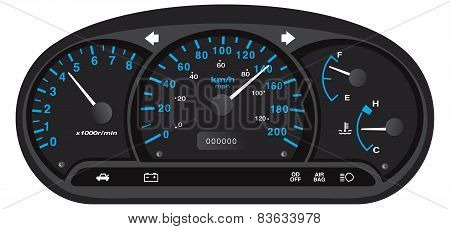 Black and blue car dashboard