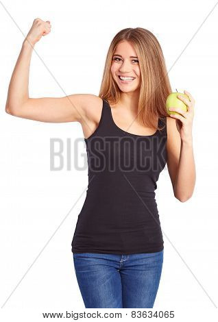 Girl With Green Apple Makes A Gesture Of Force