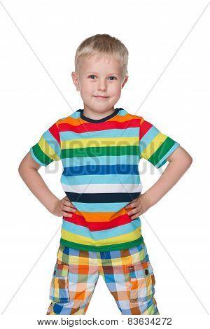 Fashion Little Boy Against The White