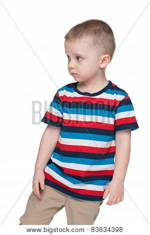 Pensive Small Boy Looks Aside
