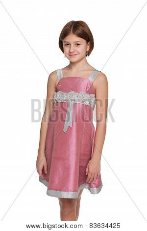 Preteen Girl Against The White