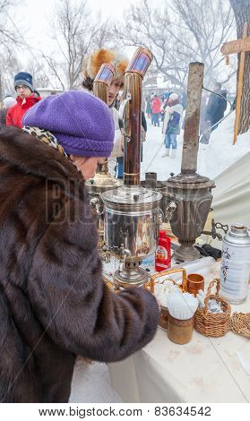 Shrovetide In Russia. Old Russian Traditional Object For Tea Ceremony, Samovar.