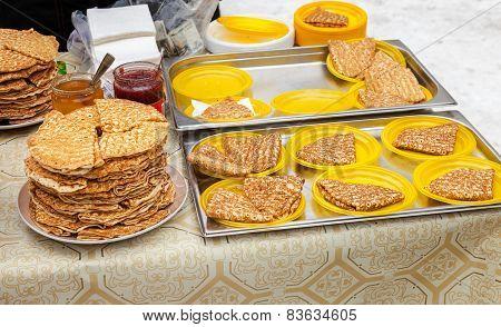 Appetizing Fried Pancakes Ready For Sale During Pancake Week