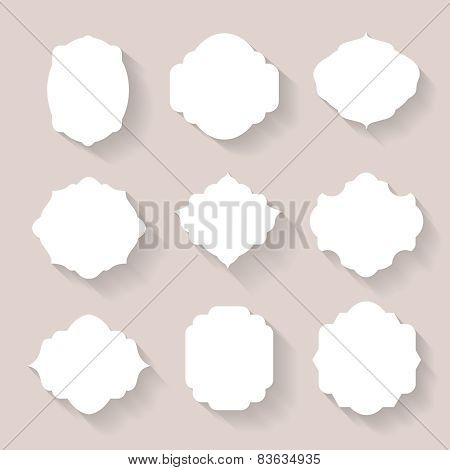Set of  white silhouette frames  or cartouches for badges