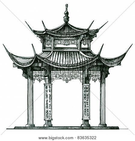 Asia. temple on a white background. Japan, China, Korea. Sketch