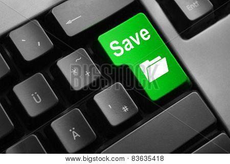 Keyboard Green Button Save Folder Symbol