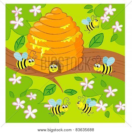 Cartoon vector beehive