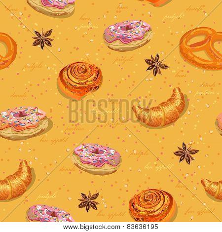 Pastries seamless pattern.
