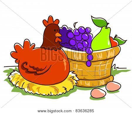 Fruit basket and hen
