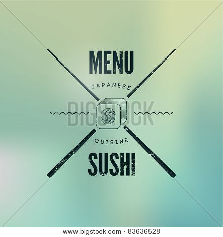 Restaurant menu design for sushi on blurry background. Vector illustration.