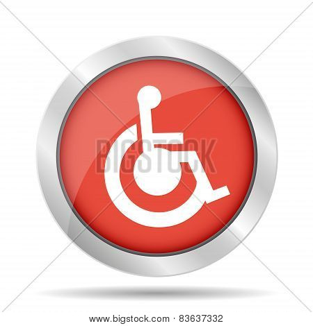 Handicap Flat Red Simple Icon
