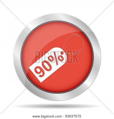 90% Tag Icon, Vector Illustration. Flat Design Style