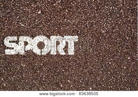 Sport Word On Asphalt Coscept Photo