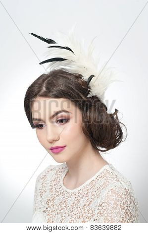 Hairstyle and make up - beautiful young girl art portrait. Genuine natural brunette with hair style
