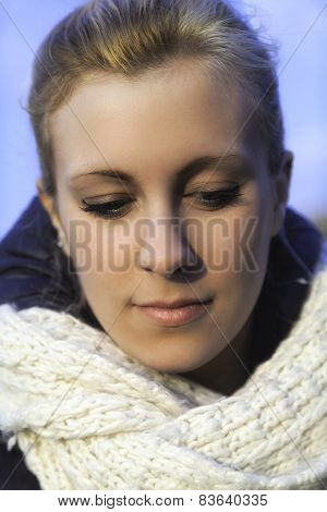 Young white girl portrait. Color photo