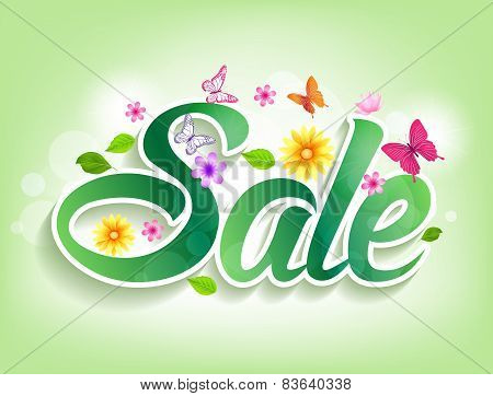 Spring Sale Word with Butterflies, Leaves and flowers