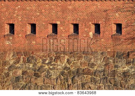 Wall Of The Old German Fort. Kaliningrad, Russia