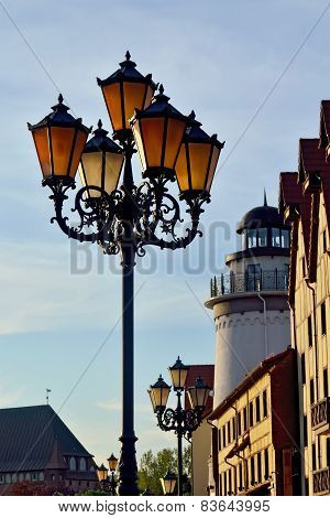Lights Of The Fishing Village. Kaliningrad, Russia