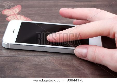 Close Up Of A Woman Using Mobile Smartphone