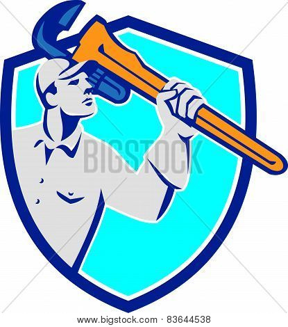 Plumber Wielding Monkey Wrench Shield Retro