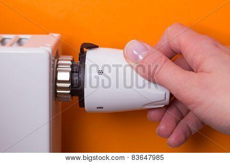 Radiator Thermostat And Hand - Orange
