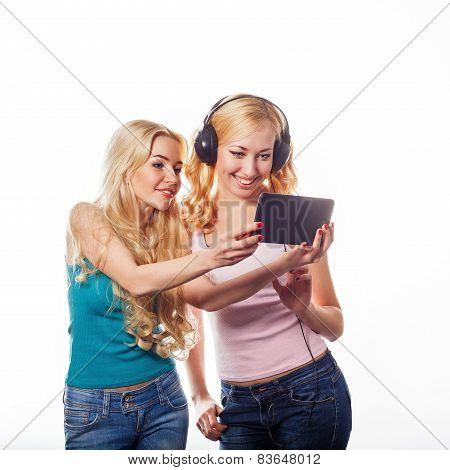 Girsl with headphones