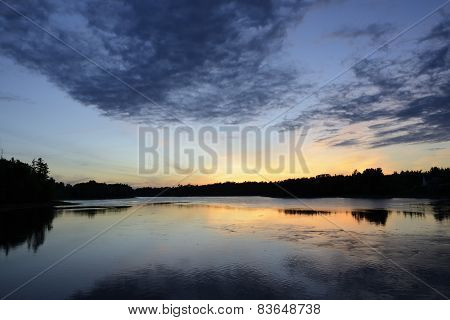 Clouds and Sky Reflecting in Water at Sunset