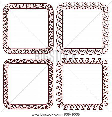 Set of Brown Openwork Square Vector Frames For Design